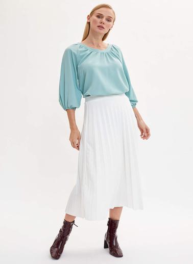 DeFacto Uzun Kollu Bluz Yeşil